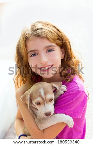 Kid girl smiling puppy dog and teeth braces smiling happy - stock photo