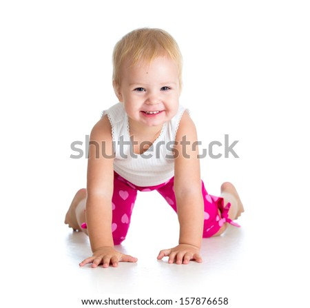 kid girl standing on all fours - stock photo