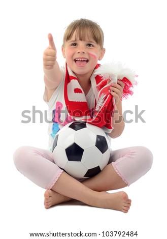 Kid girl supporting Polish football team - stock photo