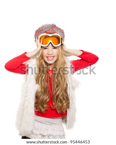 kid girl with snow winter glasses and white fur coat isolated background