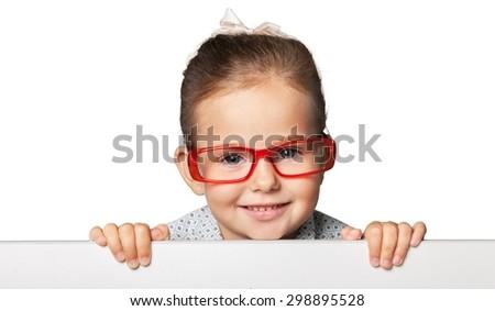 Kid, glasses, vision. - stock photo