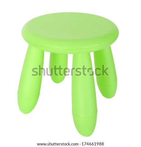 kid green plastic stool isolated on white background