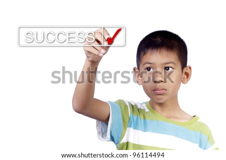kid hand checking success list on white background - stock photo