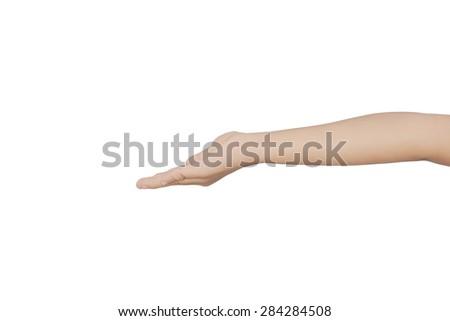Kid hand hold something on isolated white background - stock photo