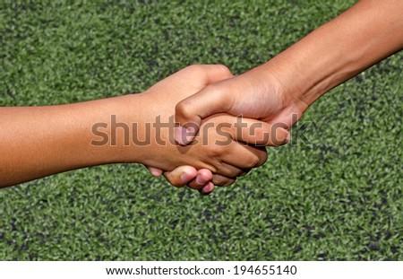 kid hand in hand - stock photo