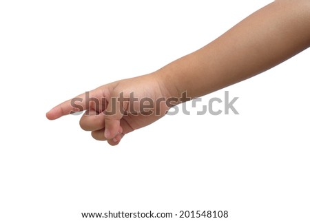 Kid hand  point on isolated white background - stock photo