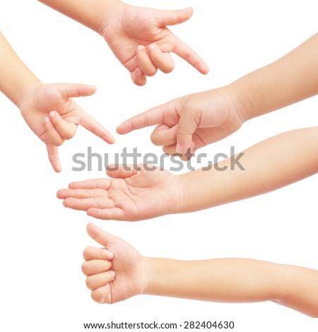 Kid hand set on isolated white background - stock photo