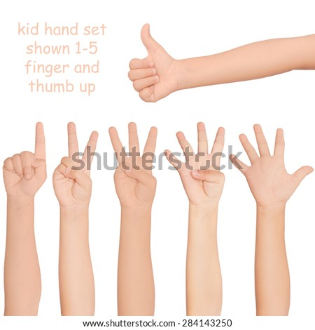 kid hand set shown 1-5 finger and thumb up on isolated white background - stock photo
