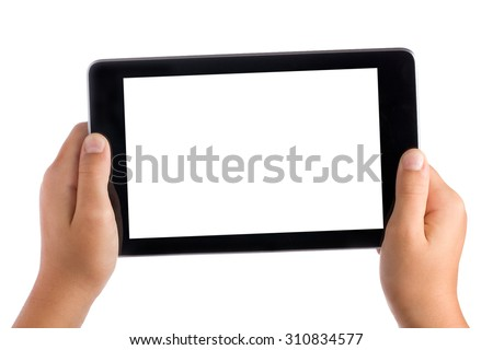Kid Hands Holding Blank Screen Tablet Pc Isolated
