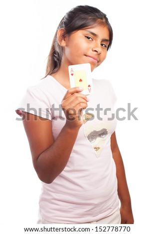 kid holding a ace on a white background - stock photo