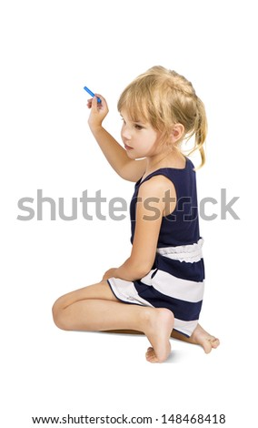 kid holding a chalk about to write, Little girl with a color chalk - stock photo