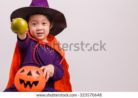 Kid in Fancy Costume on White / Kid in Fancy Costume / Kid in Fancy Costume, Studio Shot - stock photo