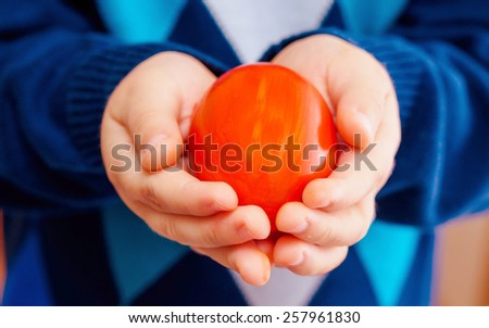Kid in his hand holding red easter egg - stock photo