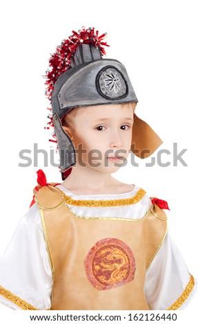 kid in the costume of the roman legionary - stock photo