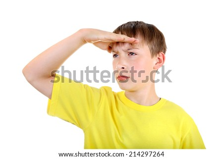 Kid looking outside Isolated on the White Background