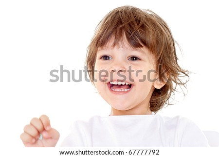 kid on a white background - stock photo