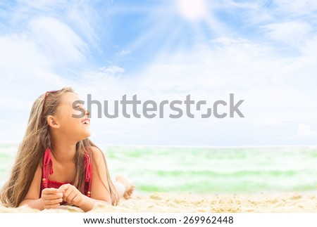 kid on the sea beach - stock photo