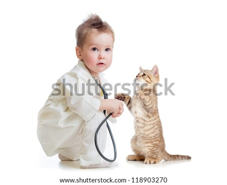 kid or child playing doctor with stethoscope and cat isolated on white - stock photo