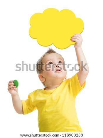 Kid playing blank yellow cloud looking up - stock photo
