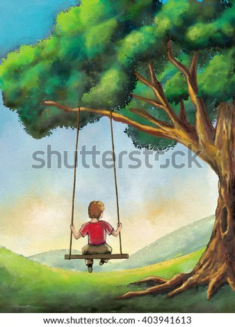 Kid playing on a swing in a country landscape. Digital illustration.
