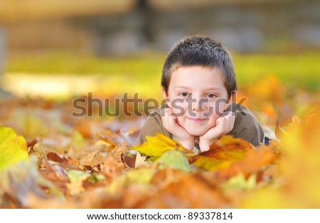 kid playing with leaves - stock photo