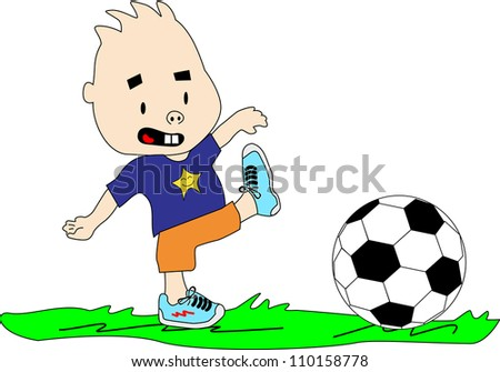 Kid plays with soccer ball on the grass.