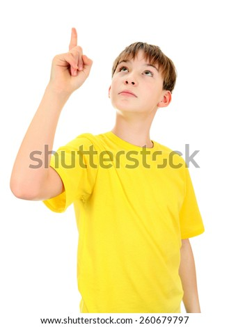 Kid pointing up Isolated on the White Background