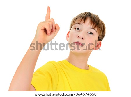 Kid pointing up Isolated on the White Background - stock photo