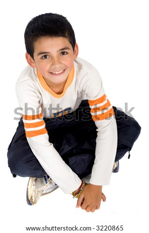 kid portrait isolated over a white background - stock photo