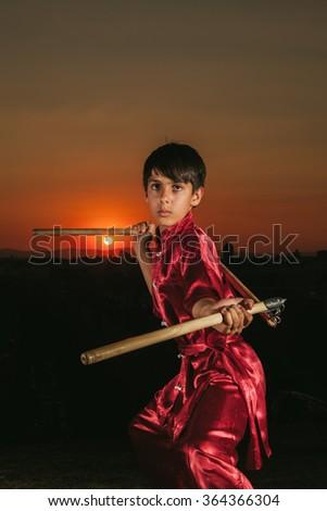 Kid Practising Martial Arts - stock photo