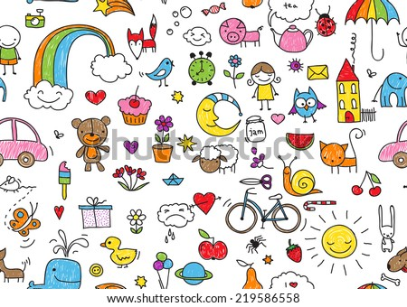 kid's drawing style seamless pattern of random kid's drawing style elements - stock photo