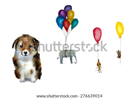 kid's dream present: puppy and balloons, hand-drawn watercolor - stock photo