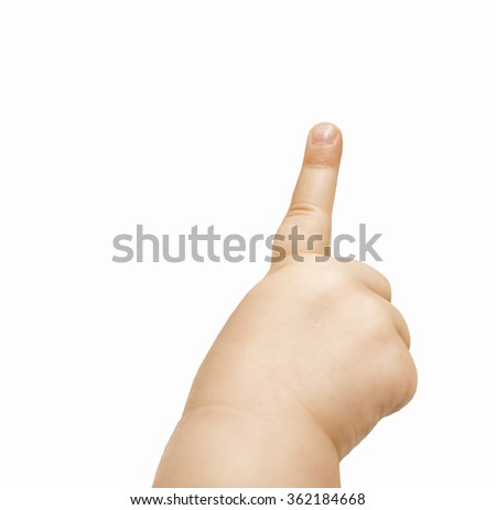 Kid's hand pointing out isolated on white - stock photo
