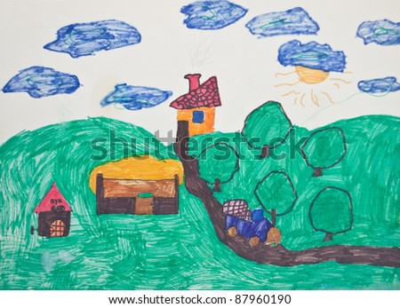 Kid's painting - stock photo