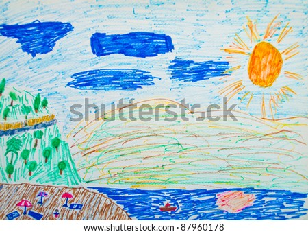 Kid's painting of holiday landscape - Sea,sky and beach - stock photo
