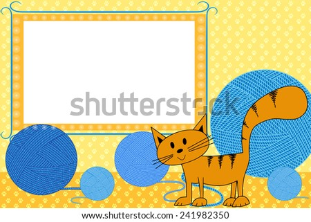 Kid scrapbook with cat - Photo  frames for children  - stock photo