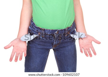 kid showing empty pockets, isolated on white