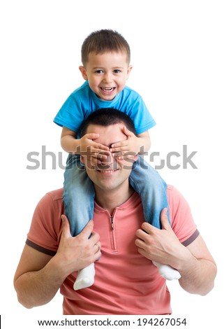 kid sitting on dad shoulders isolated on white - stock photo