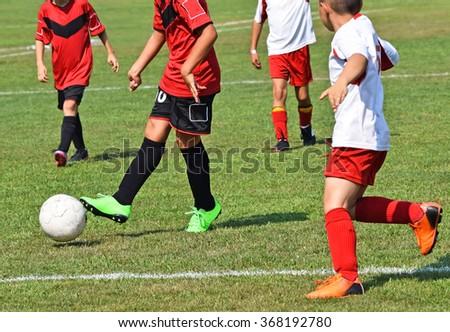 Kid soccer match - stock photo