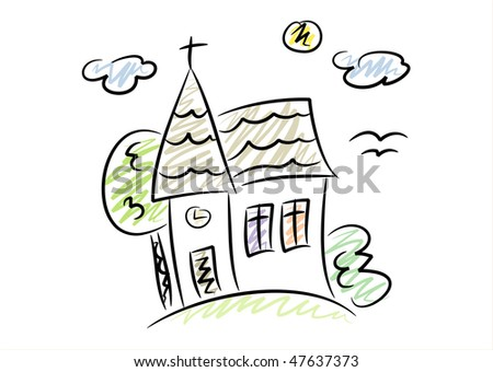 Kid Style Colored Drawing Of A Little Country Church