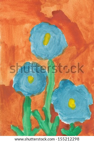 Kid watercolor drawing - Three flowers - stock photo