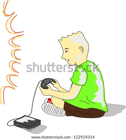 Kid wearing a green tee and brown shorts plays video game in front of TV.