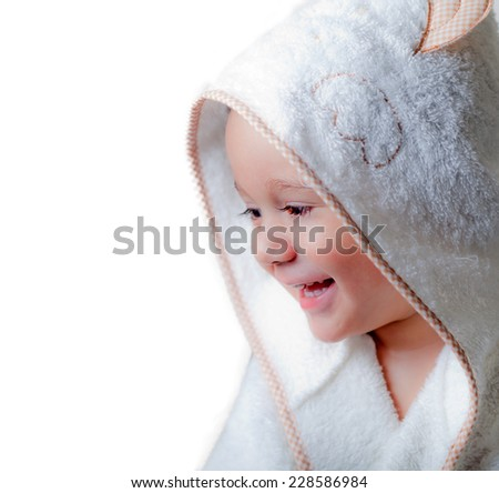Kid with a bathrobe on a white background - stock photo