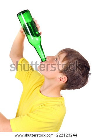 Kid with a Bottle of the Beer on the White Background - stock photo