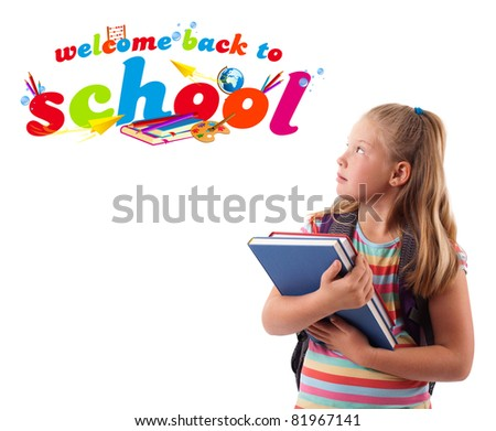 Kid with books with back to school theme isolated on white