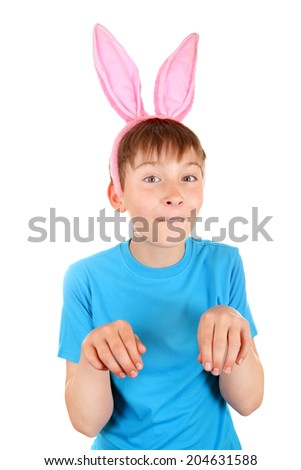 Kid with Bunny Ears Isolated on the White Background - stock photo