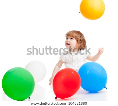 Kid with colorful balloons. Isolated on white. - stock photo