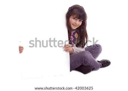kid with empty card over white - stock photo