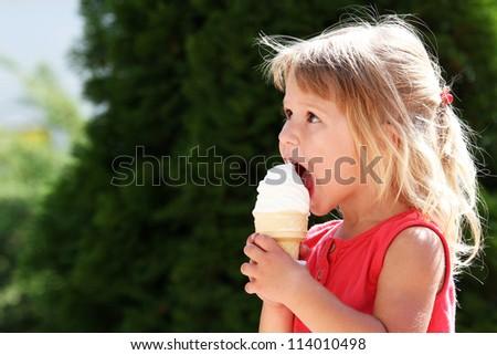 kid with ice cream - stock photo