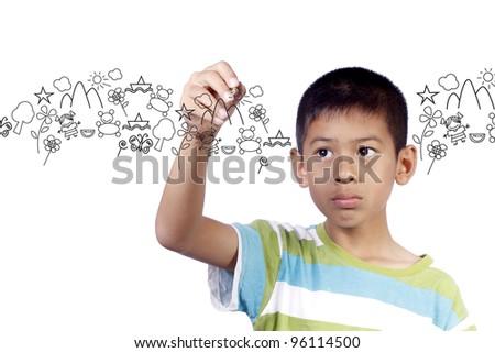 Kid writing cartoon on white background - stock photo